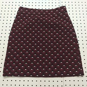 Loft Red and Black Skirt, Size 0